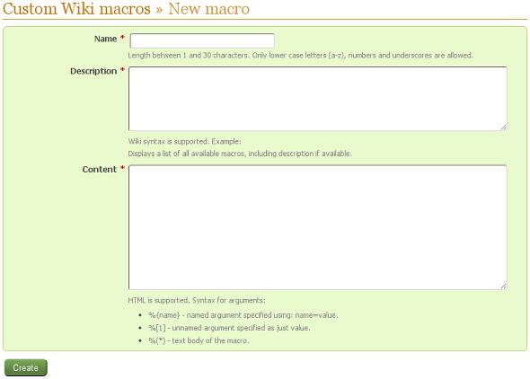 New Wiki macro